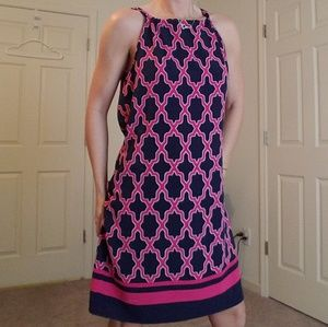 Crown & Ivy Pink/Blue Halter Dress